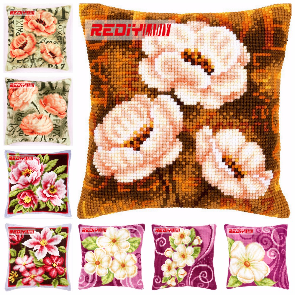 LADIY Cross Stitch Patterns FLOWERS Pillow Cover DMC Counted Cross-Stitch Kits Cushions for Sofas Home Decorative Pillow Case craft
