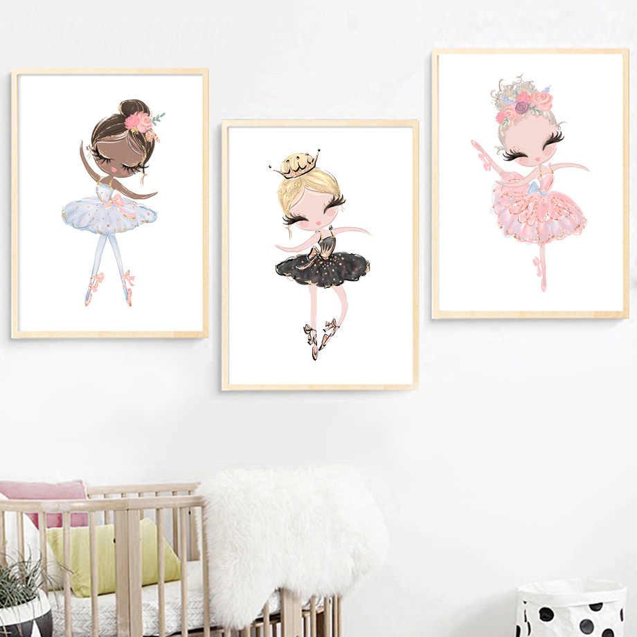 Акварель Розовый Единорог Лебедь Девушка корона цветок скандинавские плакаты и принты настенные художественные картины на холсте настенные картины декор детской комнаты