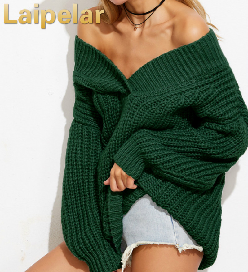 Womens Autumn Winter Knit Sweater Sexy V-Neck Pullovers Long Sleeve Jumpers Knitted Sweaters Laipelar Loose Dresses