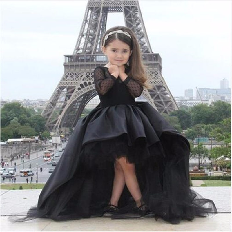 Black High Low Flower Girls Dresses Long Sleeve Satin Sweep Train Tulle Girls Birthday Dress Custom Made alluring low cut long sleeve shirred dress
