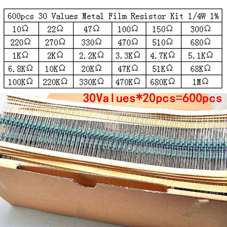 resistor kit 600pcs/lot 30Values*20pcs 1% 1/4 W resistor pack set diy Metal Film colored ring resistance (10 ohms~1 M ohm) цена