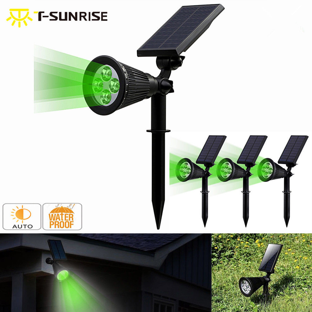 T-SUNRISE 4 Pack Solar Powered Lamp IP65 Waterproof 4 LED Wall Light For Garden Yard Decoration Green Color