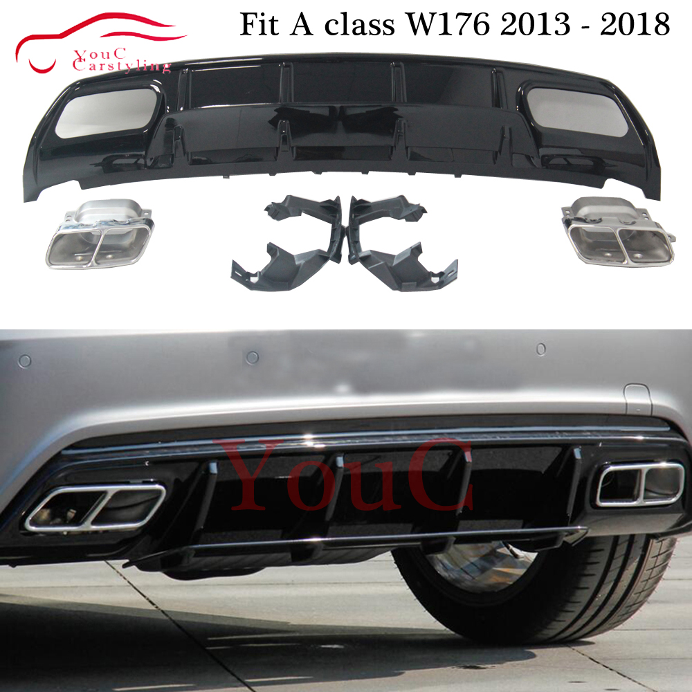 W176 Rear Bumper Black Diffuser with 4-outlet Exhaust Tips for Mercedes A class W176 2013 - 2018 A180 <font><b>A200</b></font> A45 <font><b>AMG</b></font> Package image