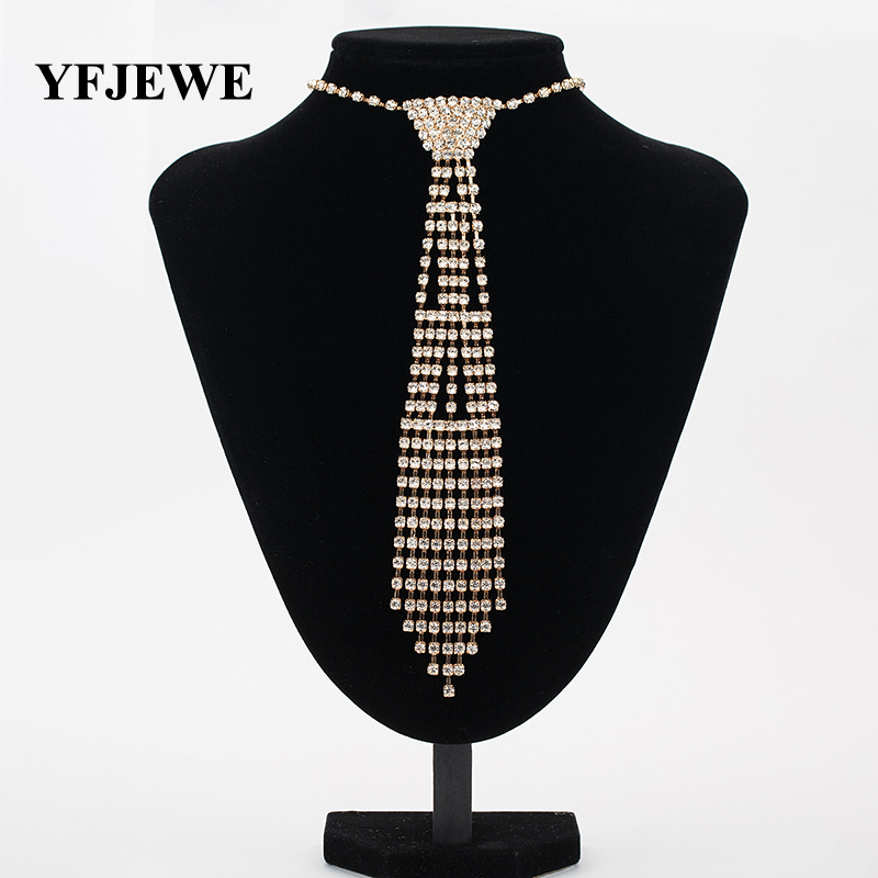 YFJEWE New Design Wedding Jewelry Necklace Bride Rhinestone Tie Accessories Wedding Jewellery Statement Necklace for Gift N340