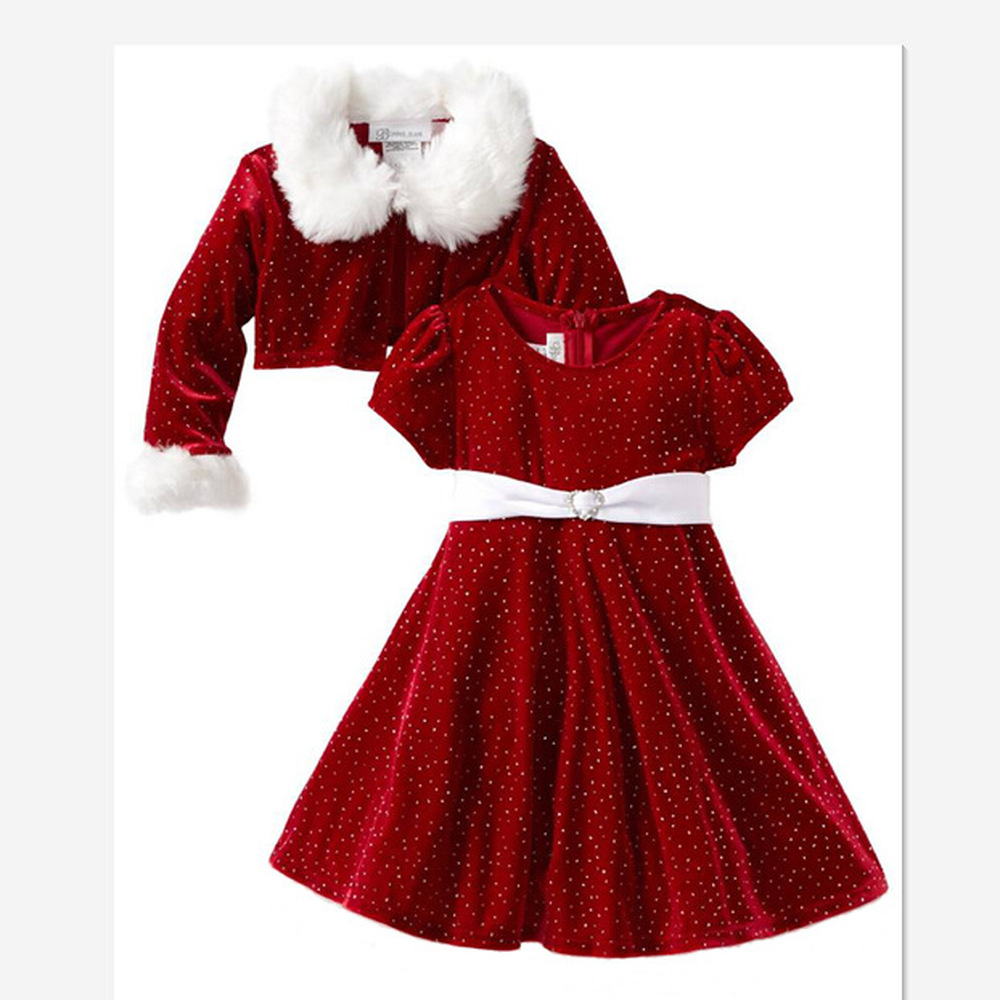 New Children Christmas Clothing Set 2--8Y Baby Girls Christmas Suit and Dress Santa Claus Costumes Newborn Enfant Clothes CA520 adult christmas santa claus costumes flocking rabbit fur fancy cosplay santa claus clothes good quality costume christmas suit