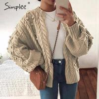 Simplee Vintage pompon twist knitted women cardigan Zipper o neck casual ladies sweater Fashion autumn female outwear cardigan