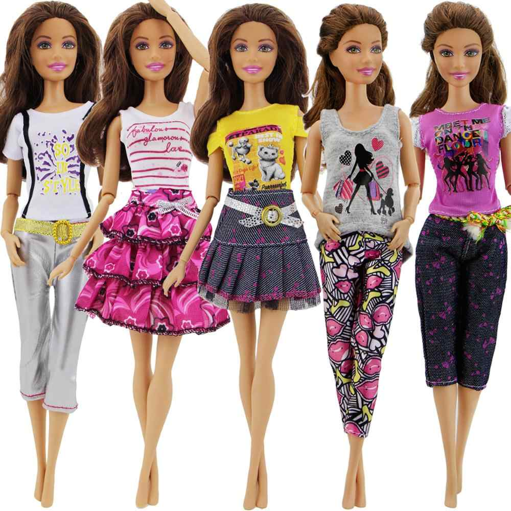 Detail Feedback Questions about 5 Sets Handmade Fashion Outifits Daily  Casual Wear Summer T shirt Pants Dress Clothes For Barbie Doll Accessories  Baby Girl ... 09c69bbd0bdb