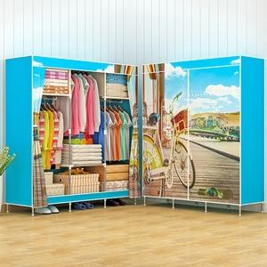 Image 3 - Actionclub風景印刷ワードローブ大型ジッパー不織布ワードローブ鋼フレーム服収納オーガナイザー家具