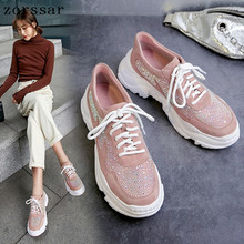 Zorssar Brand 2019 women Rhinestone sneakers Spring Autumn Genuine Leather Casual Shoes Lady Fashion Lace-up Platform