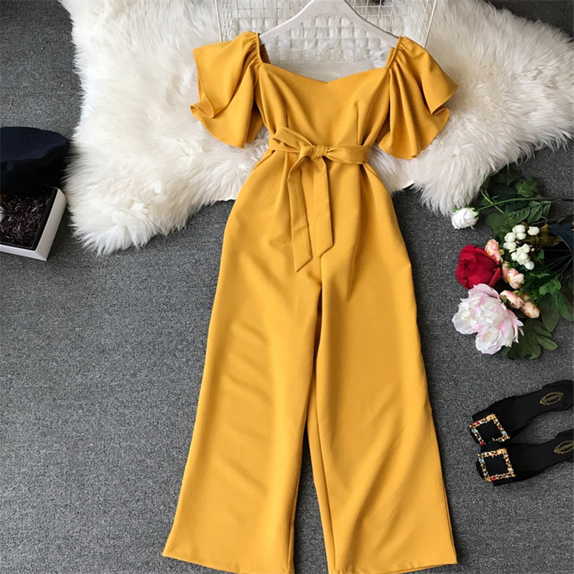 Fashion Solid Slim New Off Shoulder Jumpsuit Casual Sexy Women Bandage Playsuit Summer Long Full Length Overalls Vintage Romper 3