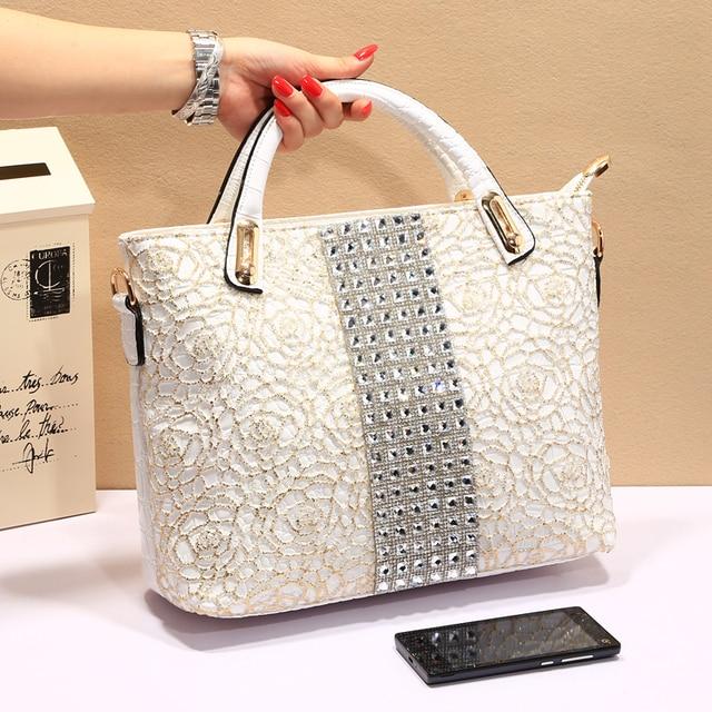 Women S Diamond Handbag For Crocodile Lace Bag Designer Handbags High Quality Shoulder Gold And Silver