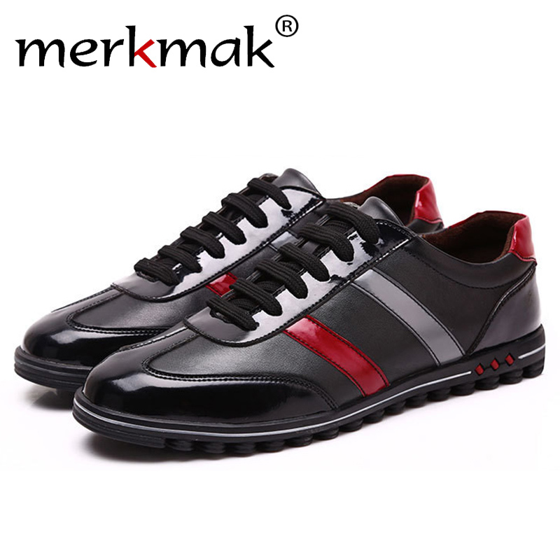 Merkmak 2017 Men's Shoes Fashion Casual Luxury Brand Genuine Leather Male Spring Autumn Breathable Shoes Men Sapatos Masculinos aleader casual men genuine leather shoes fashion autumn hade made designer shoes dress shoes sapatos masculinos