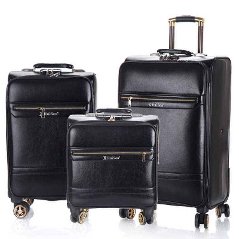 Business luggage 16 20 24 inch boarding High quality Simulation leather Rolling Luggage Spinner brand Travel