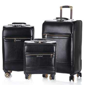 Business luggage 16/20/24 inch boarding High-quality Simulation leather Rolling Luggage Spinner brand Travel Suitcase - DISCOUNT ITEM  21% OFF All Category