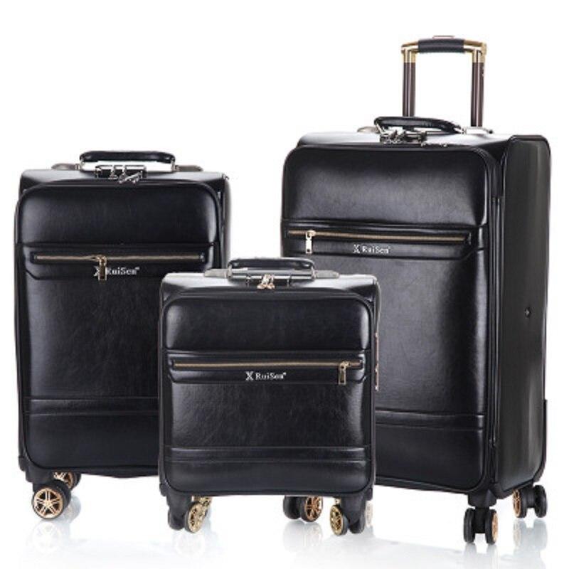 Equipaje de negocios 16/20/24 pulgadas de embarque de alta calidad de simulación de cuero rodamiento equipaje Spinner marca maleta de viaje-in Equipaje de ruedas from Maletas y bolsas    1