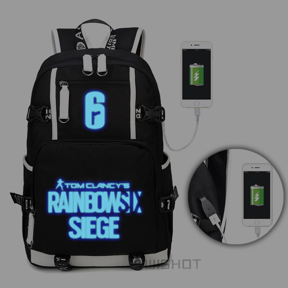 WISHOT Tom Clancy s Rainbow Six Siege Backpack Shoulder travel School Bag for teenagers with USB