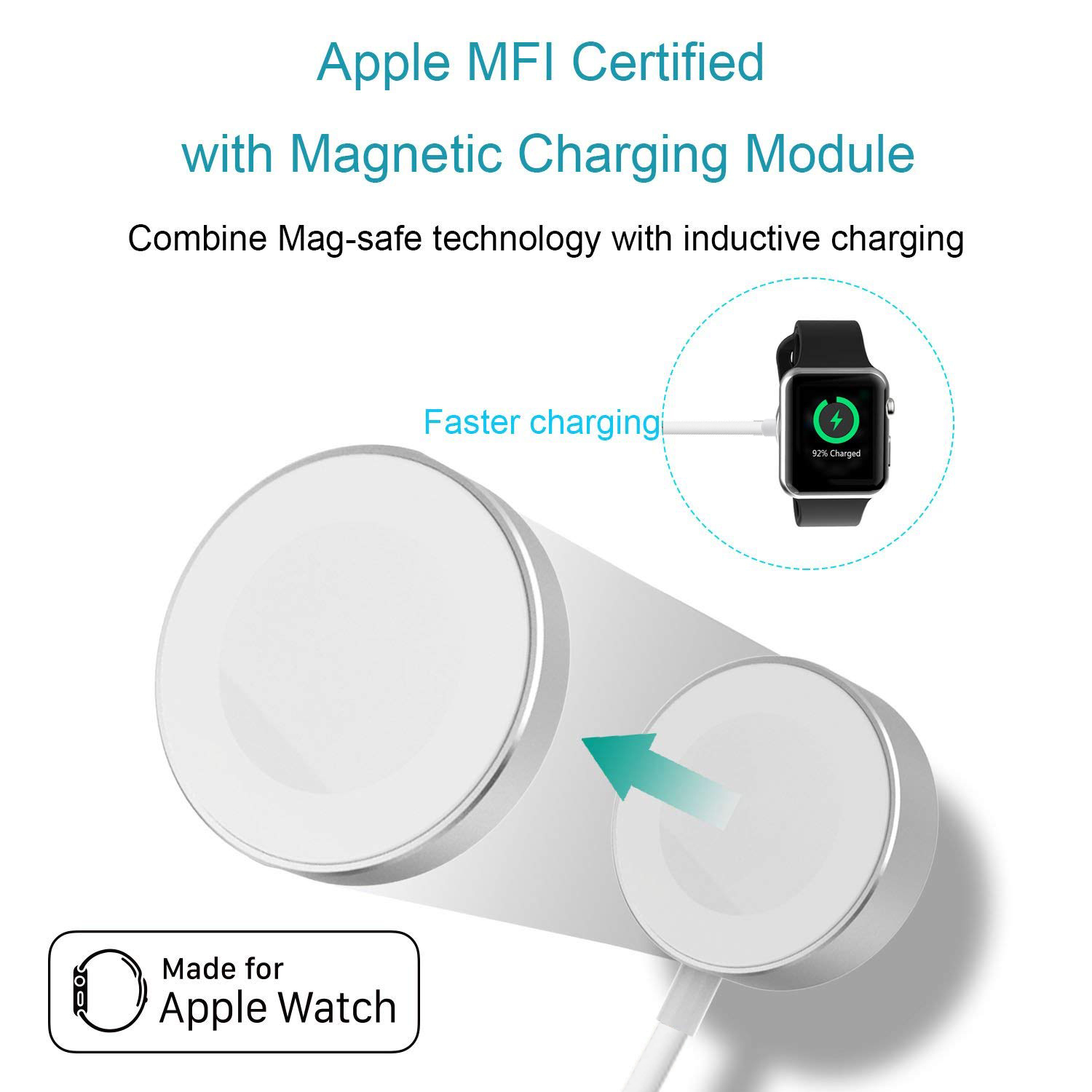 Wireless Charger for iWatch Series 2 3 USB MFi Certified Magnetic iWatch Charging Cable 3.3 feet/1meter for Apple Watch Charger magnetic charging for apple watch 4 3 2 1 iwatch 42mm 38mm 1 0ft 0 3m usb certified charger chargingcable 1m