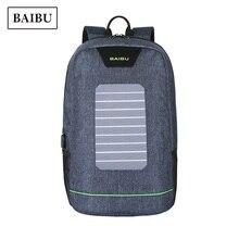 BAIBU USB Solar Charge Laptop Backpack Waterproof Travel Bag for Teens Woman Back Pack Harajuku Schoolbag for Men Blue Backbag