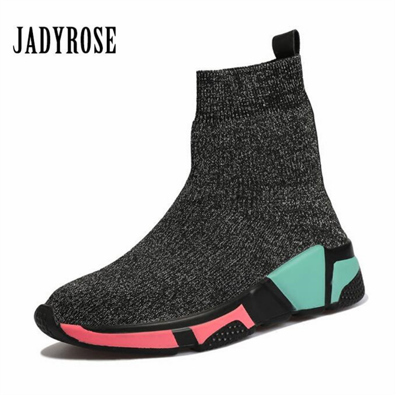 Detail Feedback Questions about Jady Rose Elastic Women Sock Boots Winter  Warm Sneakers High Tops Espadrilles Platform Creepers Female Casual Flat  Shoes on ... a048e8a48b14