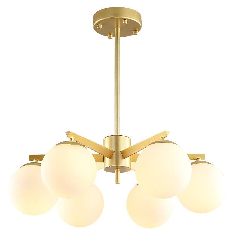 American style real brass glass ball Pendant light Modern brief Living room restaurant 3/6 heads E14 LED bulbs luxury droplight