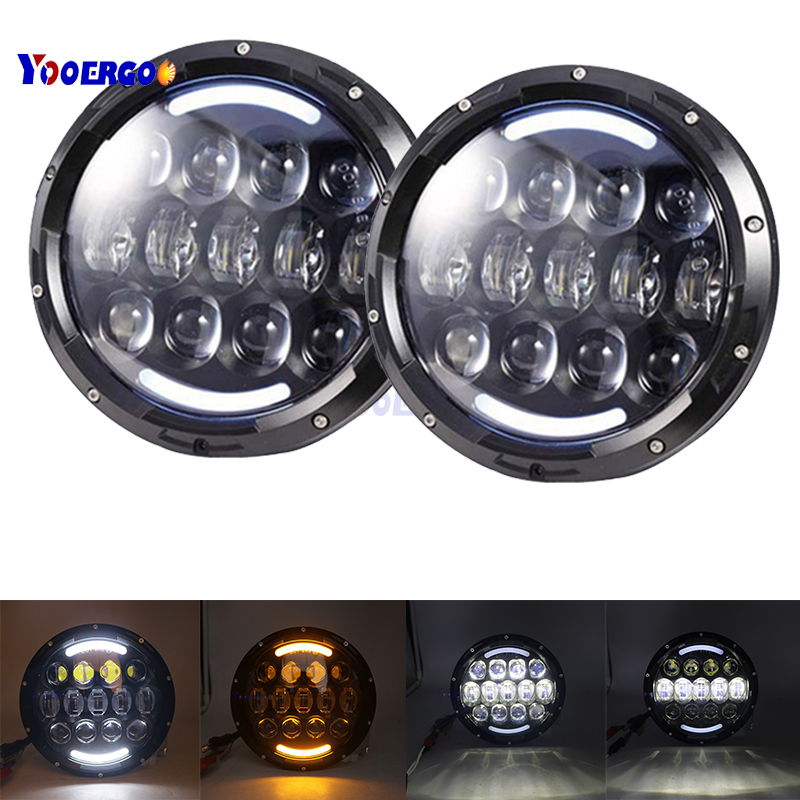 YOOERGOO (2pcs/Lot) 7 inch 105w Round LED Headlight with DRL High Low Beam Led Chip for JEEP Wrangler 2007 2015 Jk TJ FJ