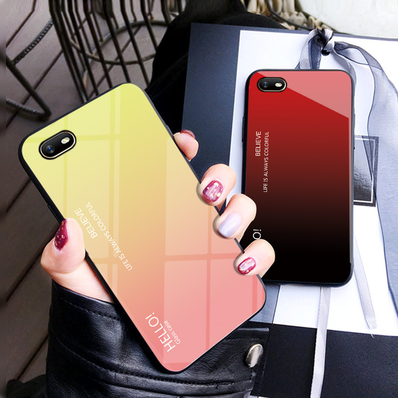 For Capa OPPO A1K Realme C2 A1K Case Tempered Glass Luxury Gradient Soft Silicone Frame Back Cover For OPPO A1K RealmeC2 Case