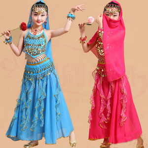 Image 2 - 5pcs Kid Belly Dancing Girls Belly Dance Costumes Children Belly Dance Girls Bollywood Indian Performance Dancewear Clothing Set