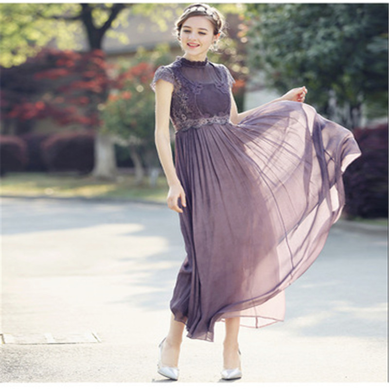 Robes en mousseline de soie robe 2019 été nouveau tempérament des femmes robe de soirée en mousseline de soie longue dentelle ajourée longue dames robe vestido