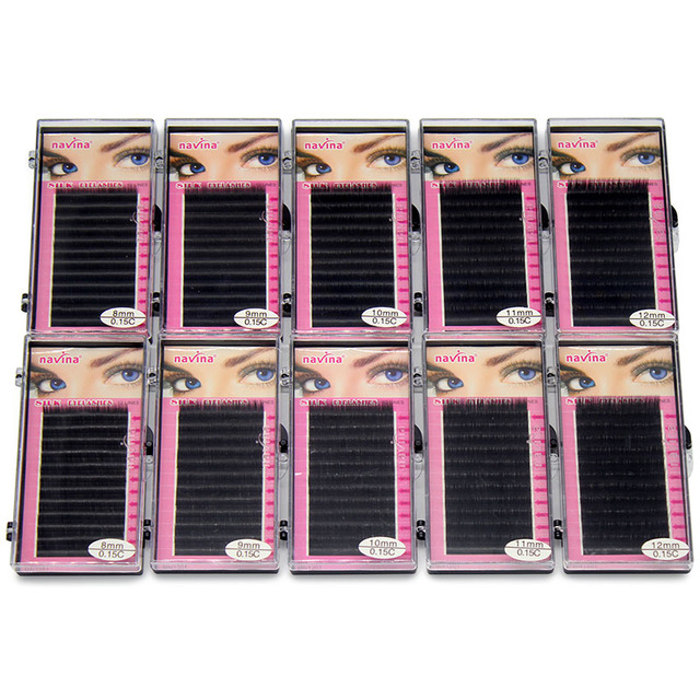 e8880a828ac Navina Wholesale 10cases/Lot Natural Extension Individual Mink Eyelashes  Professional Soft Makeup Fake False Black Eye Lashes