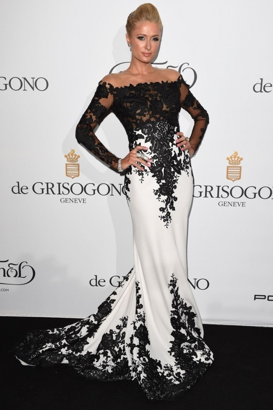 2015-Paris-Hilton-Celebrity-Dresses-Mermaid-High-Collar-Long-Sleeves-Black-White-Appliques-Long-Red-Carpet