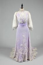 Such a softfemininegorgeous lilac hued Edwardian Period dressVictorian dress satin dress