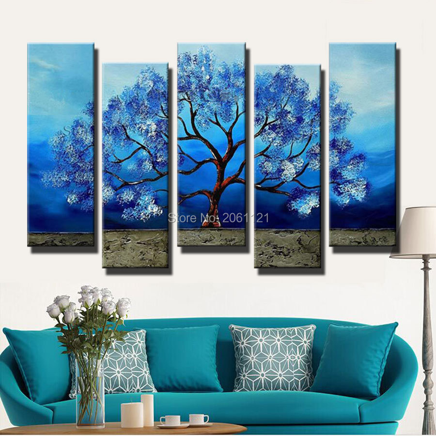 hand made huge wall art landscape blue tree oil painting on canvas artist oringinal hand painted home decorations piece gifts