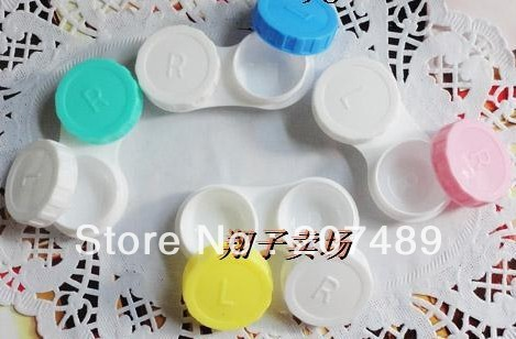 simple sweet color Cute Lovely Travel Portable Contact Lens Lenses Container Case Set Holder Box