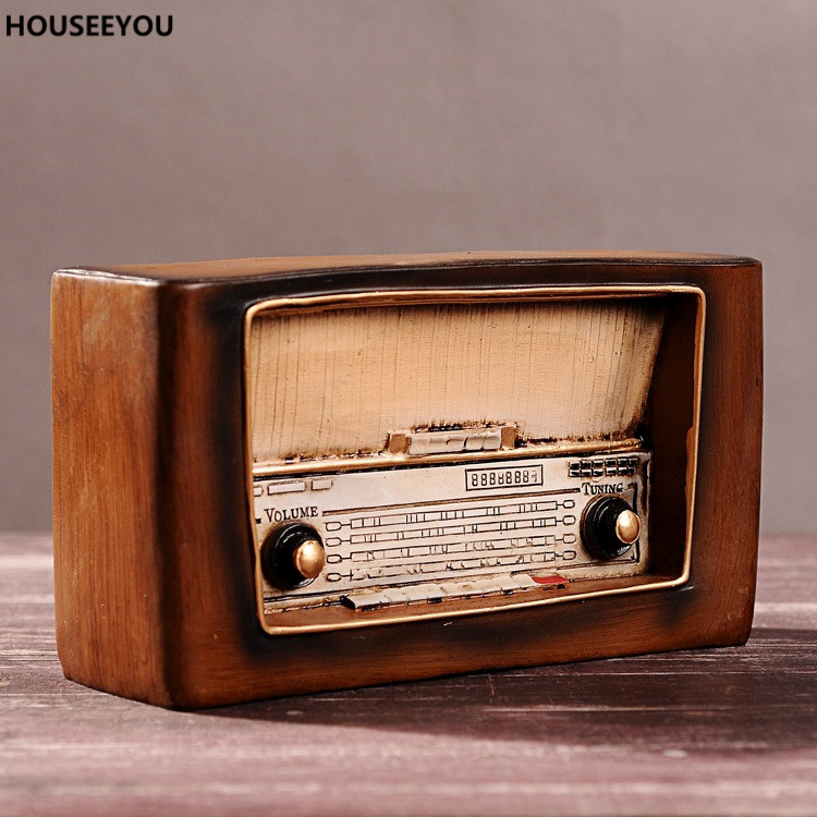 Home Decor Accessories Ornaments Decoration Craft Figurines Miniatures Gifts Retro Vintage Home Decor Nostalgic Radio Resin