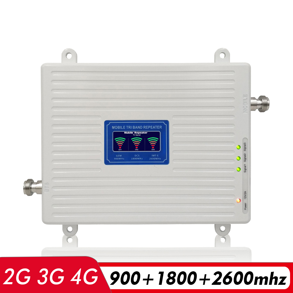 Voice+2G 3G 4G Network Tri Band Signal Amplifier GSM 900Mhz+DCS LTE 1800(B3)+FDD LTE 2600(B7) Cell Phone Signal Booster Repeater