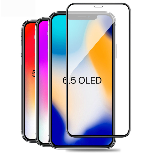 1000pcs Full Cover XS max Tempered Glass Screen Protector For iPhone XS Screen Protective film whole glue glass on iphoneXs
