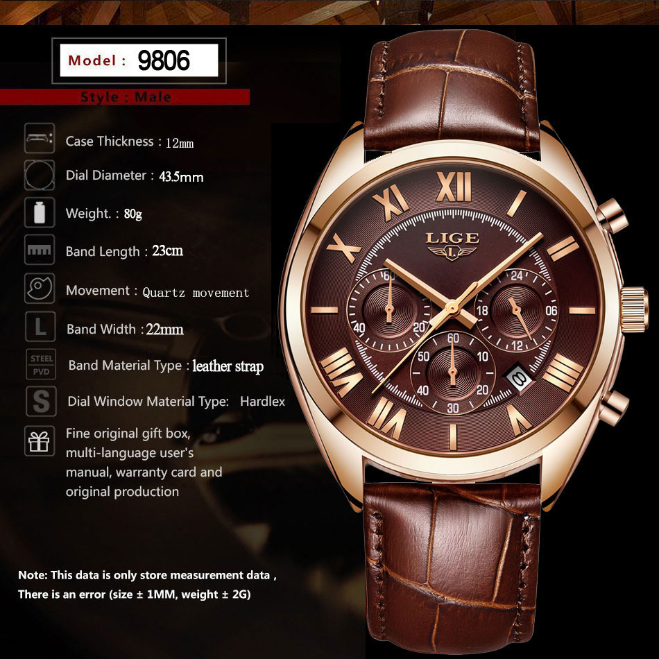 HTB1JJ3HPkvoK1RjSZFwq6AiCFXa7 LIGE Watch For Men Top Brand Luxury Waterproof 24 Hour Date Quartz Clock Brown Leather Sports WristWatch Relogio Masculino 2019