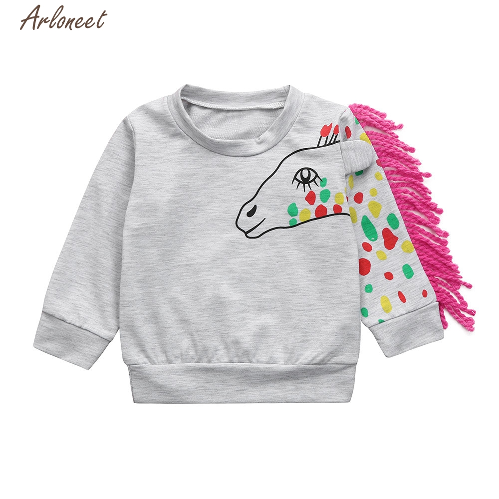 TELOTUNY Sweatshirt Toddler Baby Boys Girls Cartoon Tassel T-shirt Tops Sweatshirt Pullover Outfits Y121530