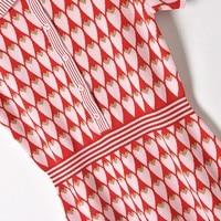 Summer Dress 2018 New Runway short sleeved pink suit lapel knit waist knitting dress female peach heart printing Party Dress
