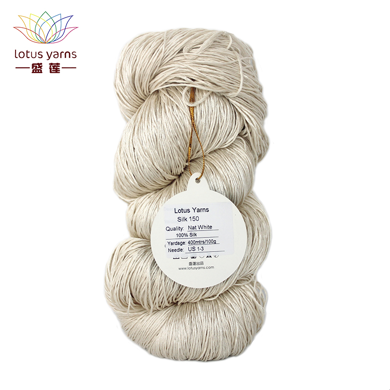 Lotus Yarns Silk 150 Yarn Natural Silk Fiber Undyed Hand Knitting DIY Crochet