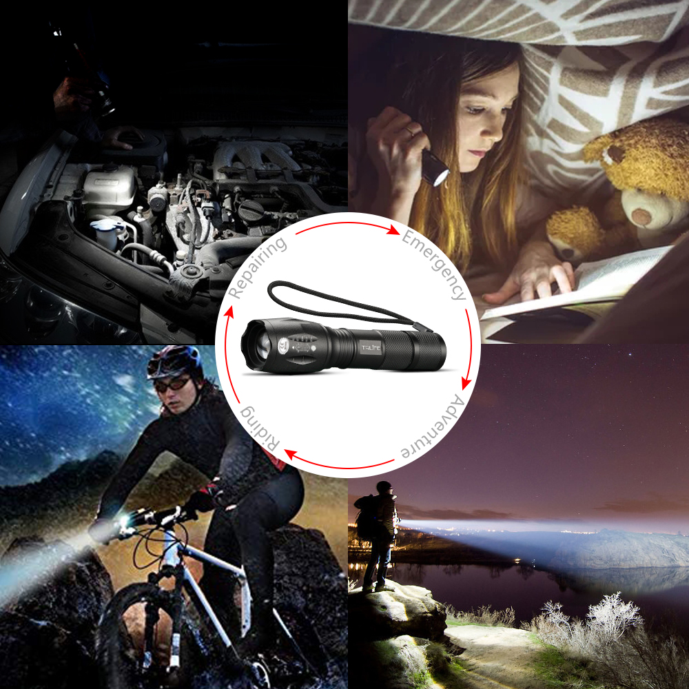 Купить с кэшбэком Led Flashlight Ultra Bright torch T6/L2/V6 Flash light 5 switch Modes Zoomable Bike Light By 18650 Battery for Camping,Fishing
