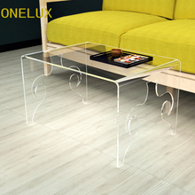 Engraved Watefall Acrylic Small Coffee Table