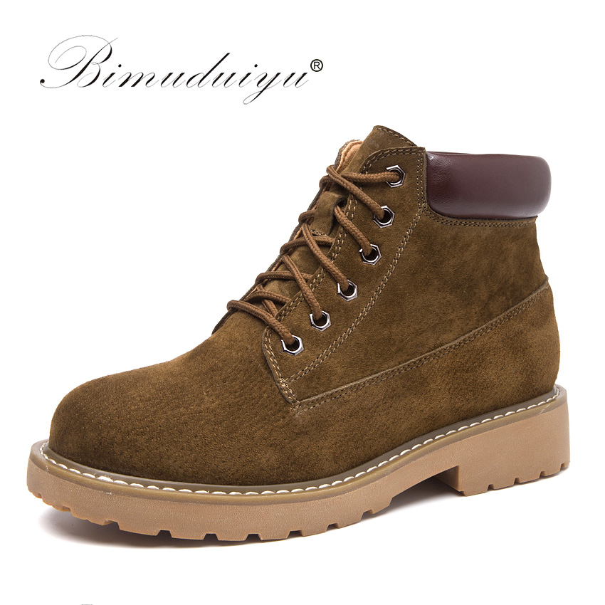 BIMUDUIYU 2017 Autumn New Cow Suede Women Ankle Boots Genuine Leather Martin Boots Fashion Design Botas Flat Casual Femmes Shoes front lace up casual ankle boots autumn vintage brown new booties flat genuine leather suede shoes round toe fall female fashion