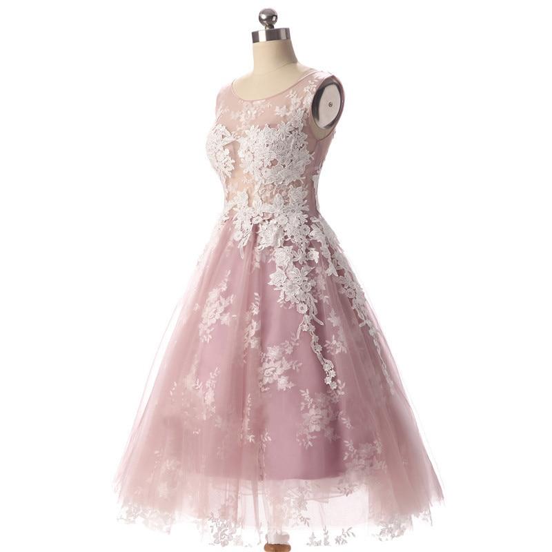 Aswomoye Elegancka krótka sukienka wieczorowa 2018 Nowa elegancka - Suknie specjalne okazje - Zdjęcie 3