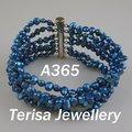 Nova A365 frete grátis #, Aa. Novo azul escuro fresco Natural pulseira de pérolas de água. Tamanho : 5-6mm.Length : 7.5inch.6 linhas. Pulseira pérolas