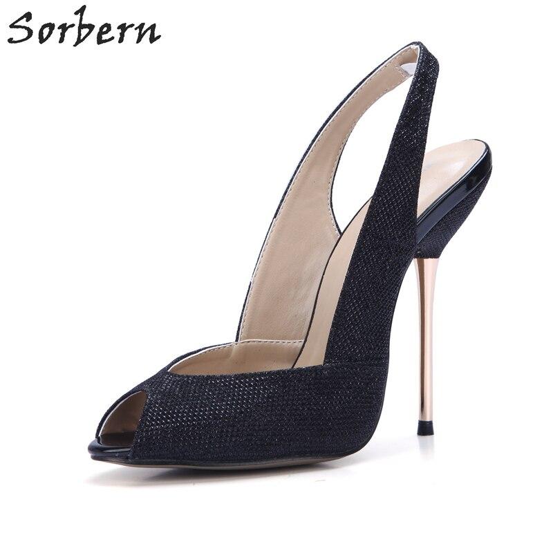Sorbern Metallic Glitter Black Shoes Women Slingbacks Shoes Pumps Metal Heel Custom Color Green Heels Prom Party Shoes 2018