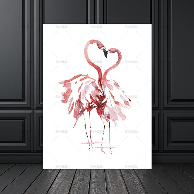 Canvas Painting Poster Art Print on Watercolor Flamingo Wall Pictures for Home Decoration Giclee Print Wall Decor no frame