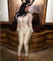 Мода 2017 г. блестят комбинезон сексуальный комбинезон этап одежда кристаллы костюм певица ночной клуб Пром вечерние со стразами наряд