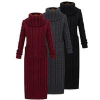 2016 Winter Woman Long Sweat Dress Solid Color Turtleneck Slim Pullovers Elastic Bodycon Pocket Basic Knitted