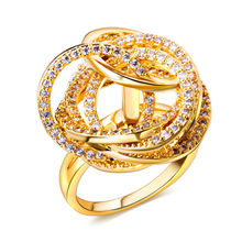 DC1989 New Fashion Big Party Ring for Women Premium Quality AAA Cubic Zirconia Pave Setting Lead Free Rhodium &  Gold Plated
